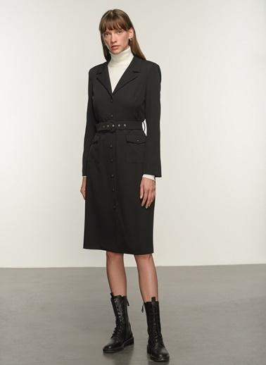 NGSTYLE Ngkaw20El0007 Ceket Yakalı Elbise Siyah